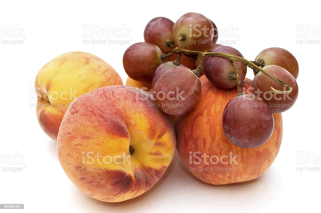 Peaches and grapes. royalty-free stock photo