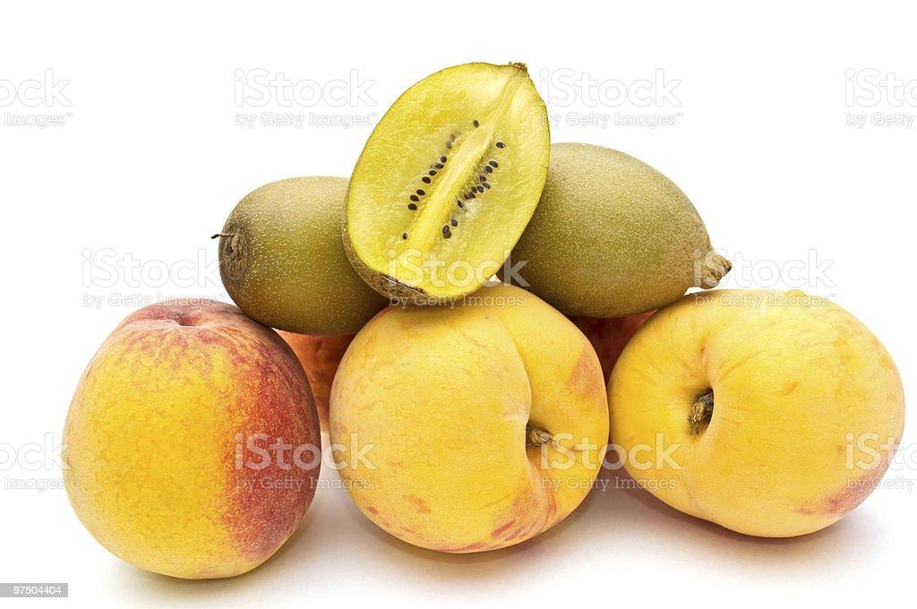 Peaches and kiwi. royalty-free stock photo
