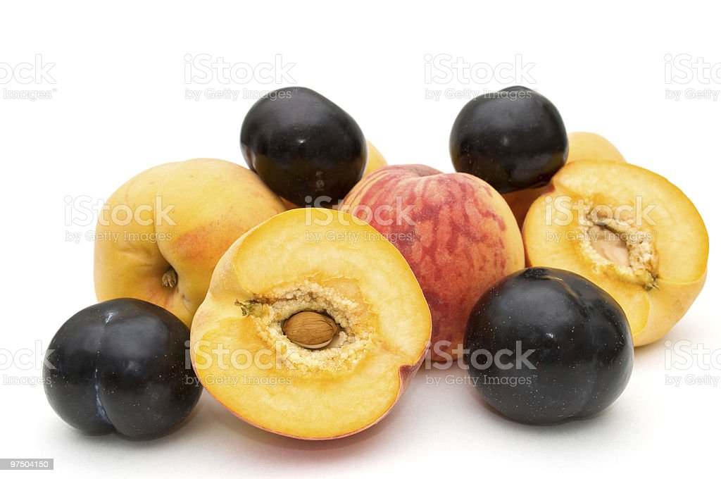Peaches and plums. royalty-free stock photo