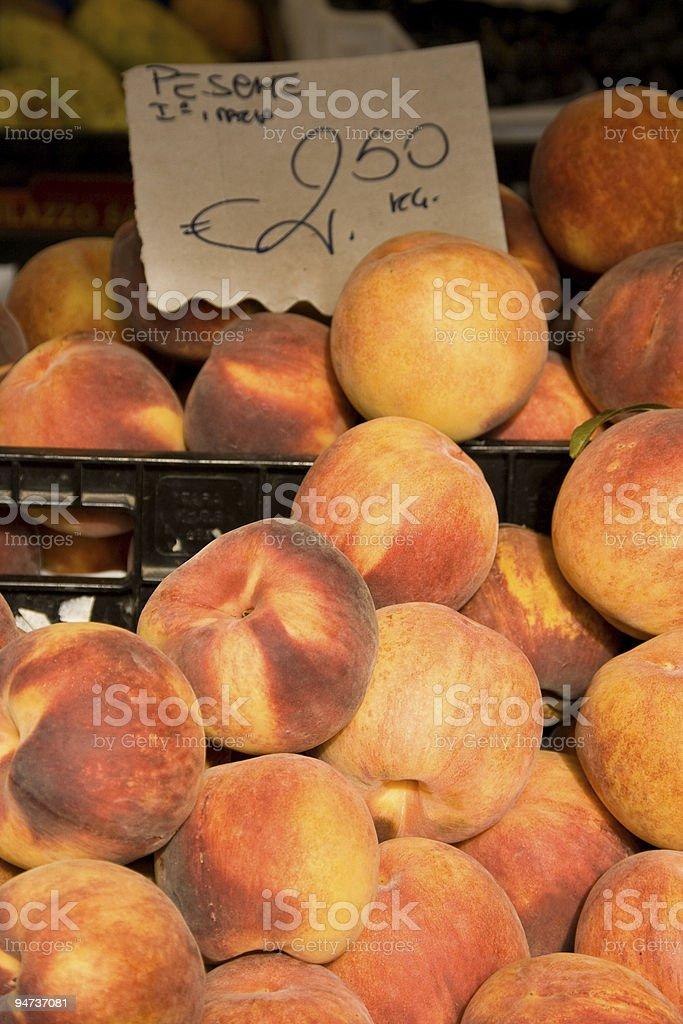 Peaches at Campo dei Fiori in Rome stock photo