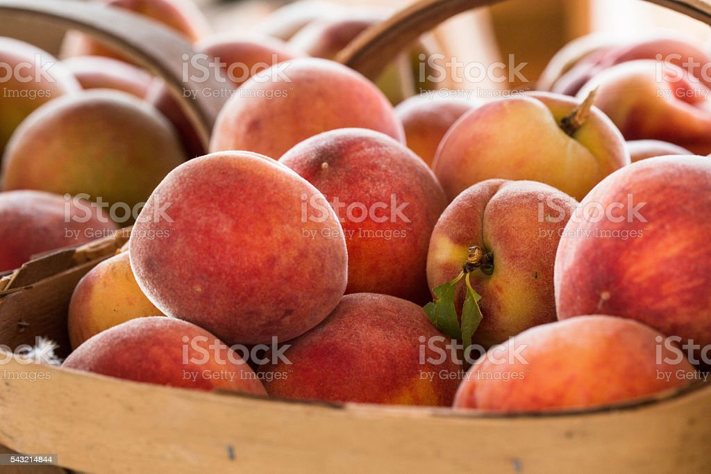 Peaches For Sale at Farmers Market stock photo