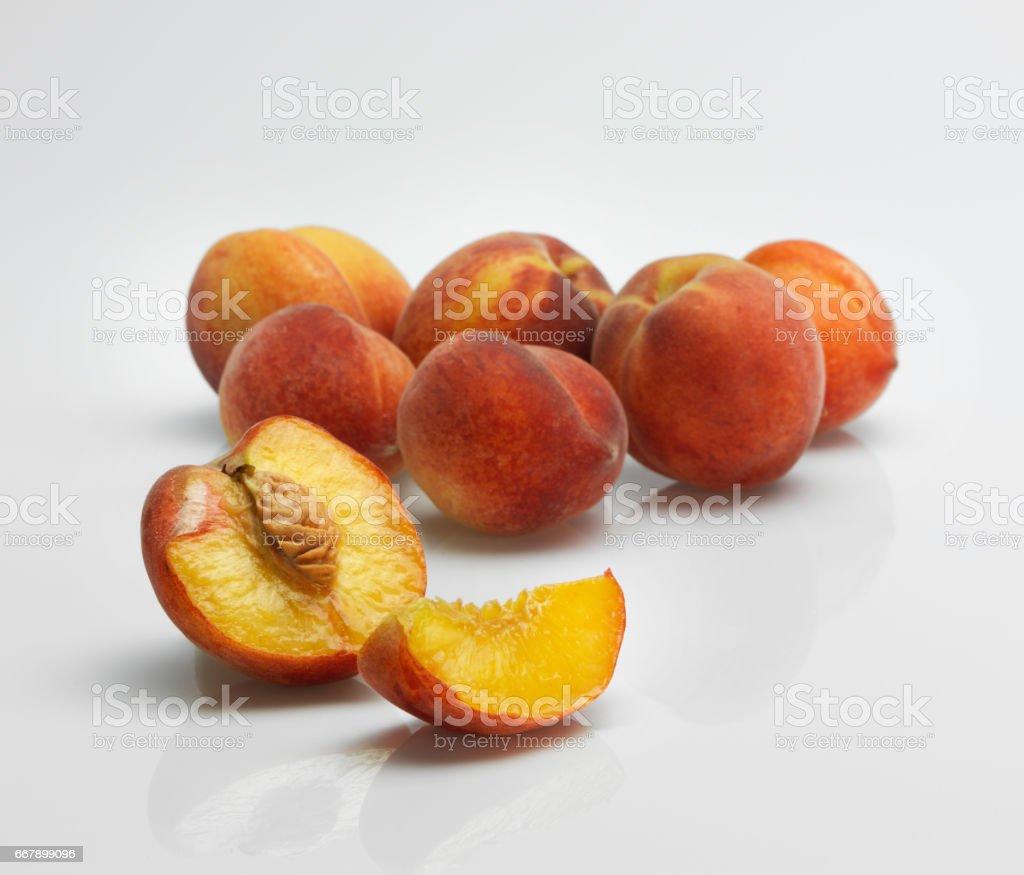 Peaches on white background royalty-free stock photo