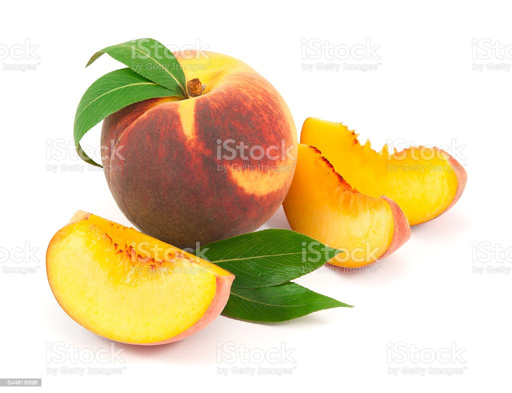 Peaches with leaves isolated on white background stock photo