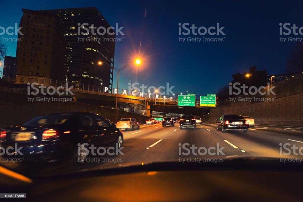 Peachtree Street sign on bridge stock photo