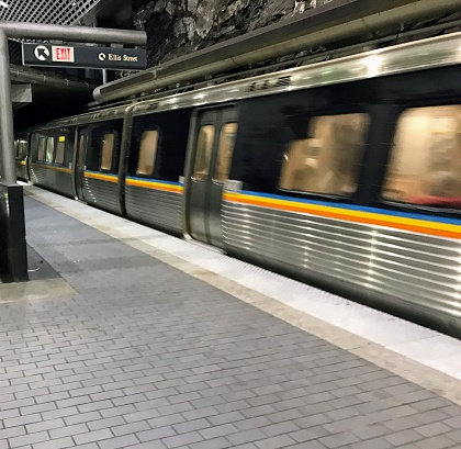 Photo of a MARTA train at the Peachtree Street Station