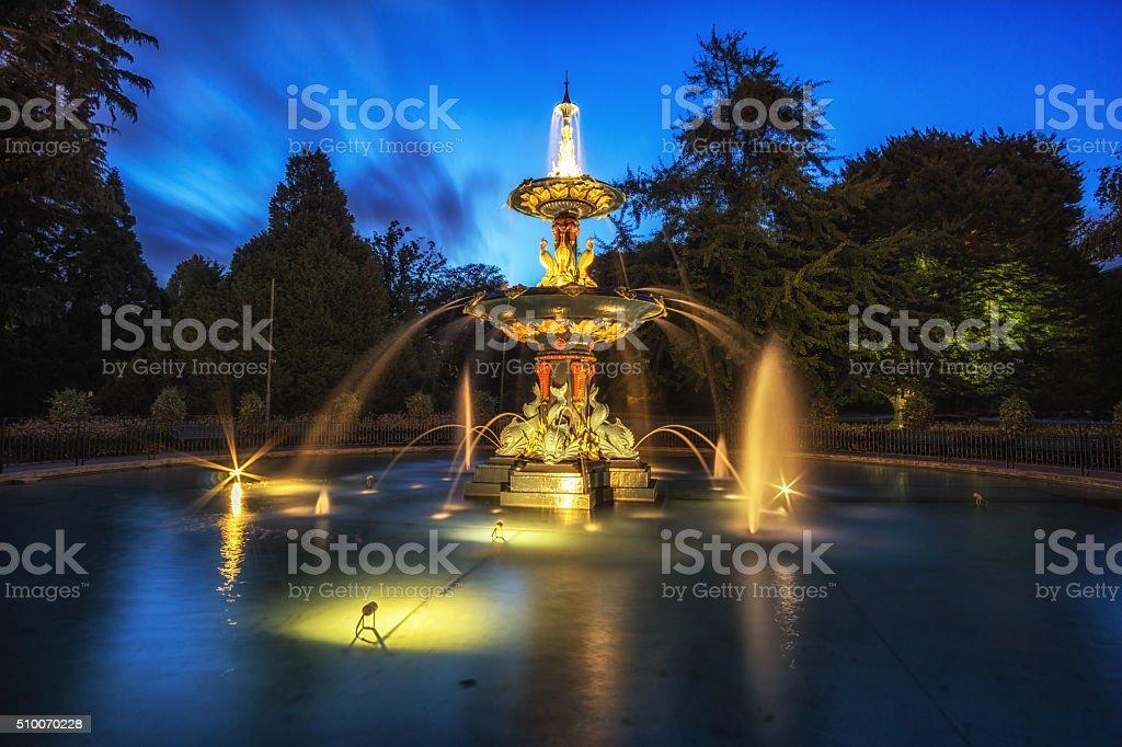 peacock fountain stock photo