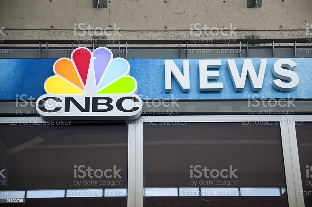 CNBC Peacock News Logo on Storefront stock photo