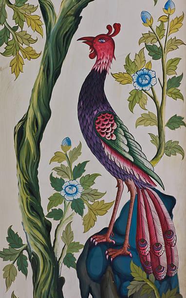 peacock gemälde im thai-stil - pfau bilder stock-fotos und bilder