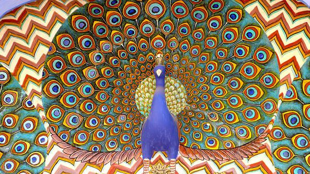 Peacock Wall Motif - City Palace, Jaipur stock photo