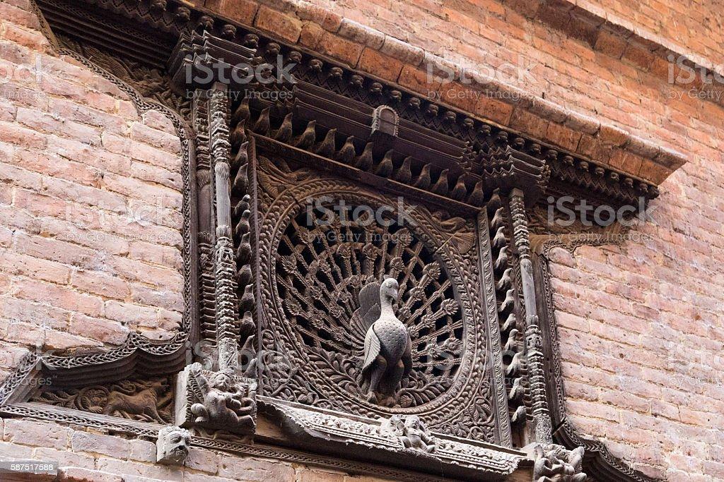 Peacock Window in Bhaktapur, Nepal stock photo