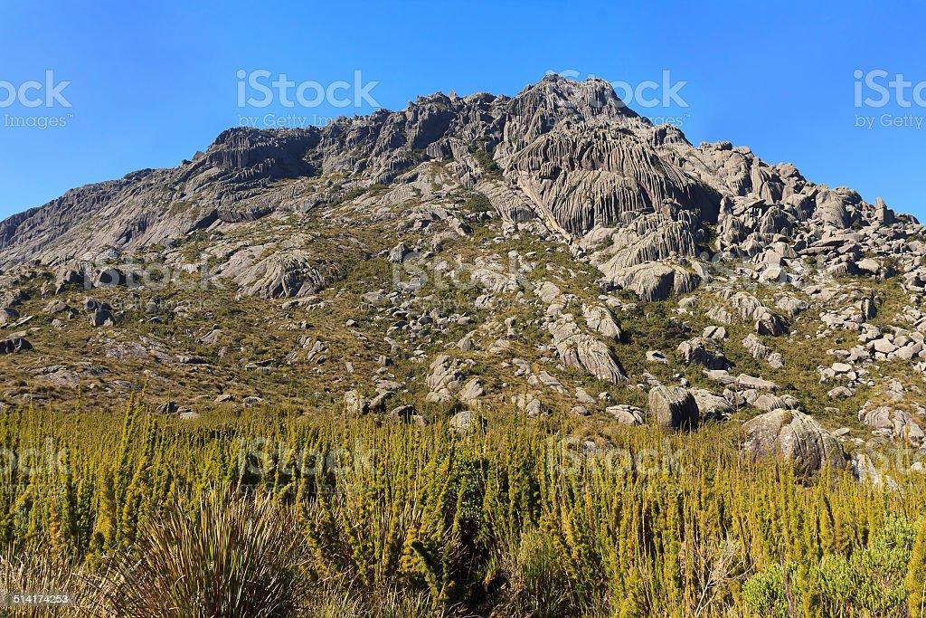 Peak Agulhas Negras (black needles) mountain, Itatiaia,  Brazil stock photo