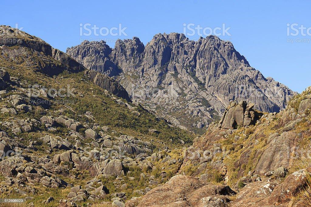 Peak Agulhas Negras (black needles) mountain landscape, Itatiaia stock photo