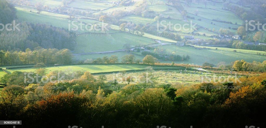peak district national park derbyshire england uk - autumn scenic landscape stock photo