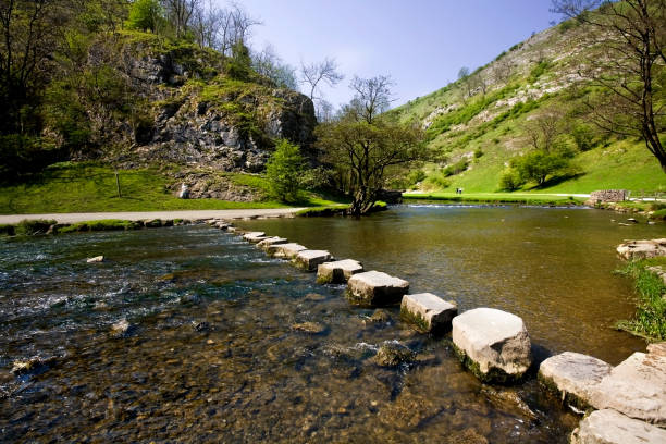 Peak District National Park Derbyshire England UK Valley of the River Dove Footpath Dovedale stock photo