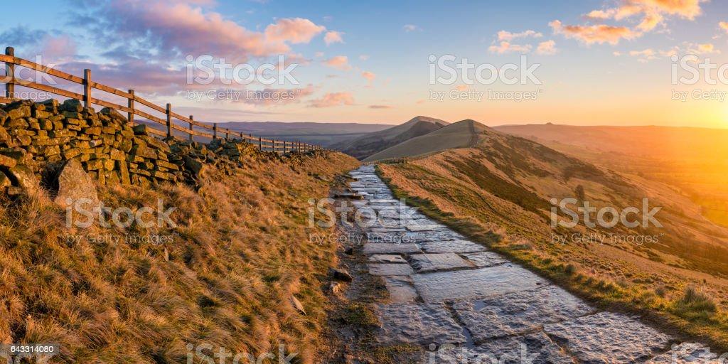 Peak District Sunrise Along The Great Ridge. stock photo