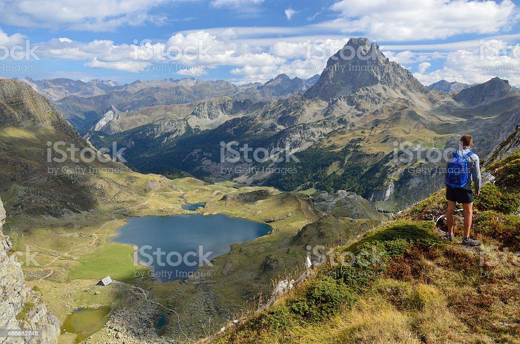Peak du Midi d'Ossau and the lake Gentau stock photo