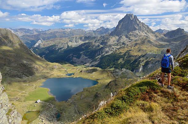 peak du midi d'ossau and the lake gentau - bearn stok fotoğraflar ve resimler