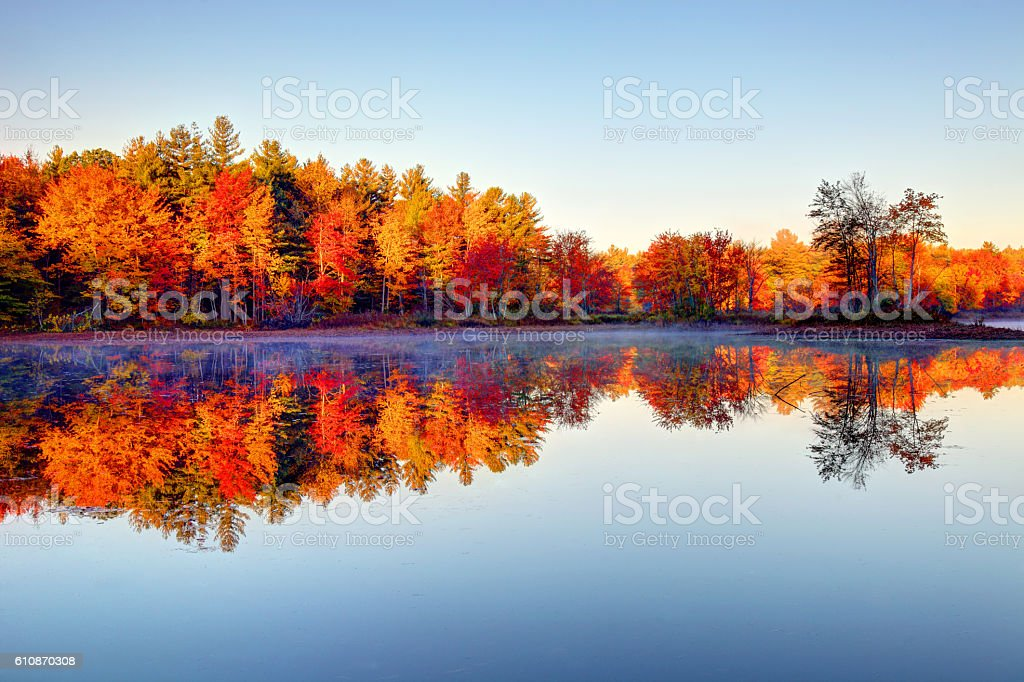 Peak fall foliage reflecting on a pond in New Hampshire stock photo