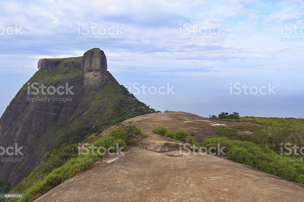 Peak Mountain Pedra da Gavea, Pedra Bonita, Rio de Janeiro stock photo