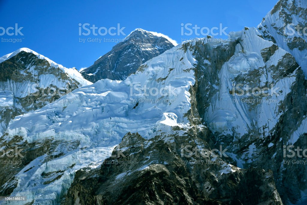 Peak of Mount Everest stock photo