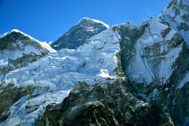 Peak of Mount Everest stock photo