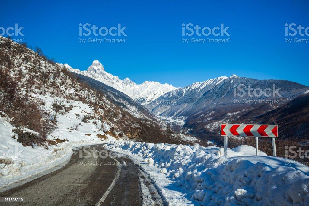 Peak of mount Ushba in Caucasus Mountains, Svanetia region in Georgia stock photo