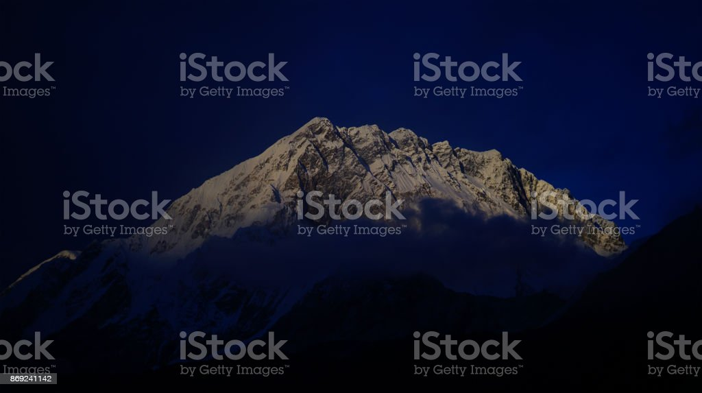 Peak Of Nuptse Mount at Morning View From Lobuche Village, Everest Base Camp Trek, Nepal stock photo