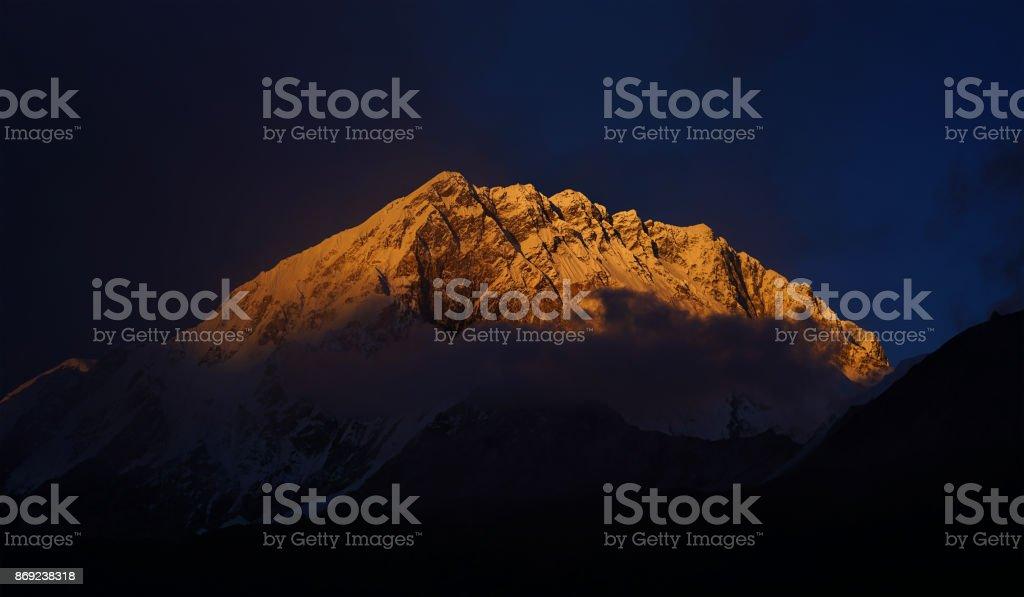 Peak Of Nuptse Mount at Sunset View From Lobuche Village, Everest Base Camp Trek, Nepal stock photo
