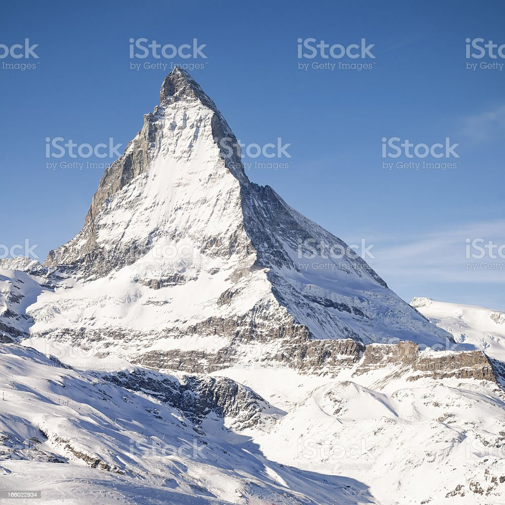 Peak of the Matterhorn stock photo