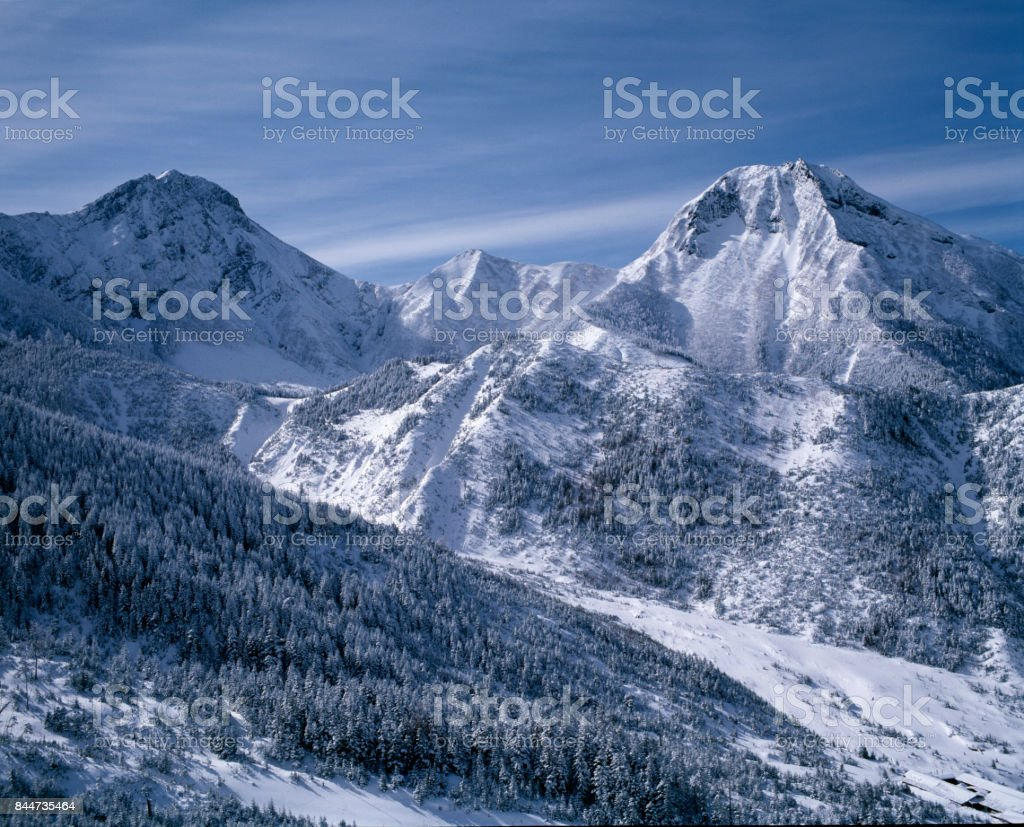 8 peak (left: Amida-Dake Mt. aka-Dake) stock photo
