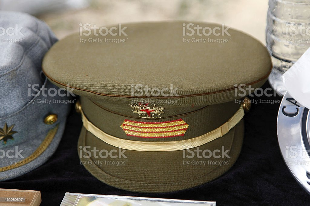 peaked cap a sergeant of the Spanish Army stock photo