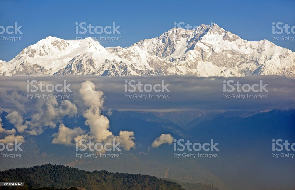 Peaks and puffs, Himalayas, West Bengal, India stock photo
