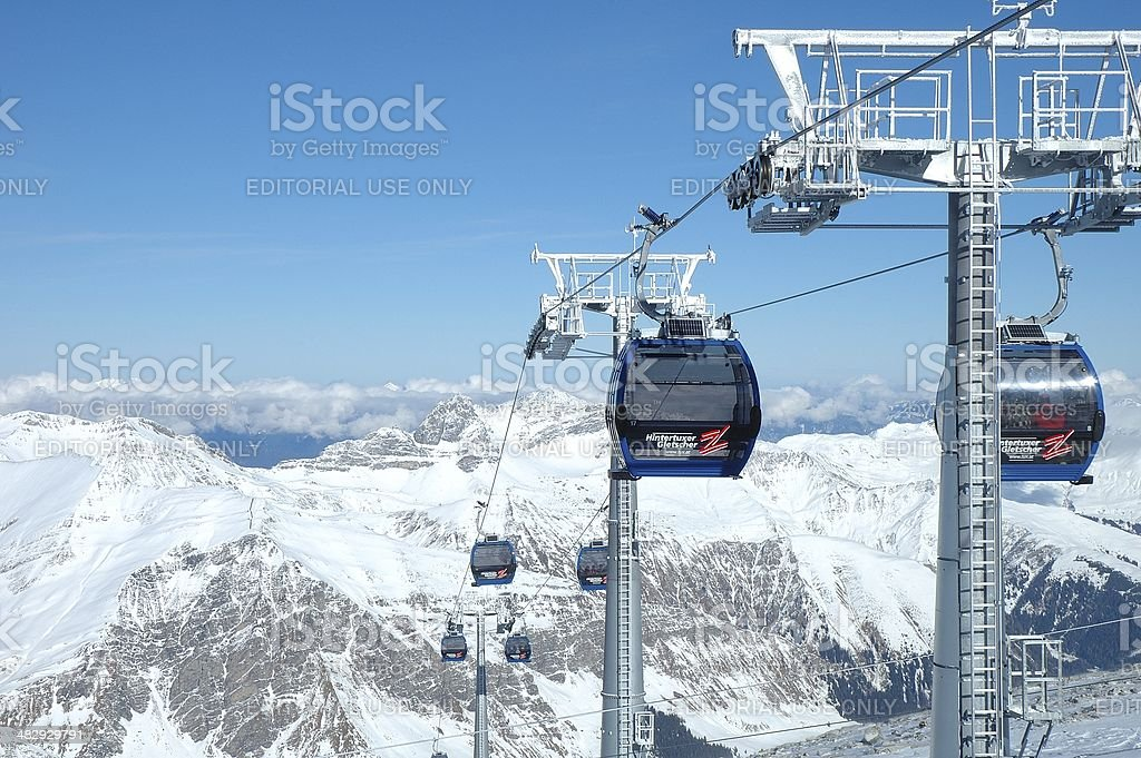 Peaks and ski lifts stock photo