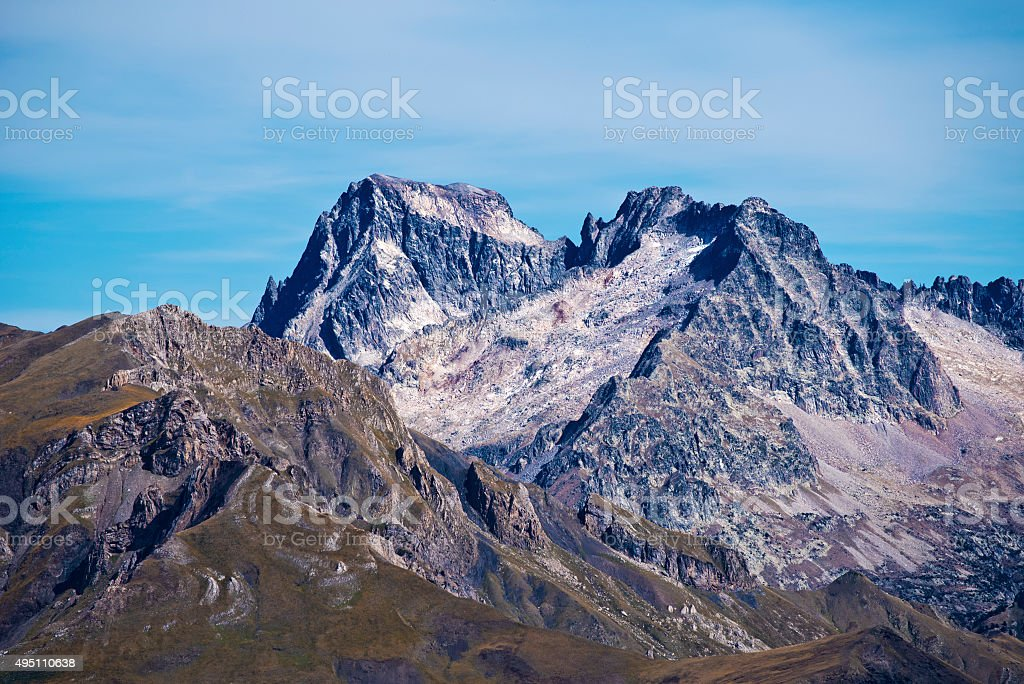 Peaks Balaitous 3144 m and Frondellas 3063 m from west stock photo