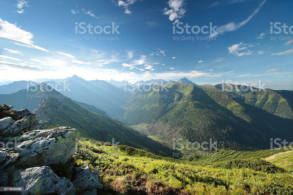 Peaks in Tatra Mountains stock photo