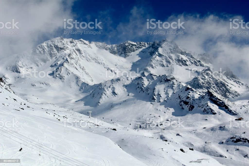 Peaks of French Alps, Val Thorens stock photo