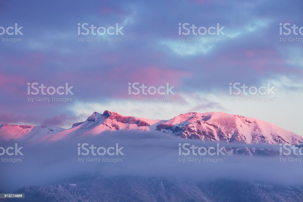 Peaks of High Tatras at dawn, beautiful outdoor winter background stock photo