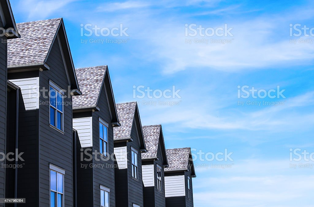 peaks of row housing stock photo