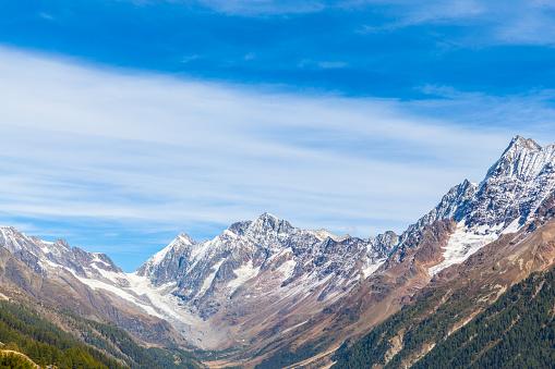 Peaks of swiss alps  above the Loetschental Valley