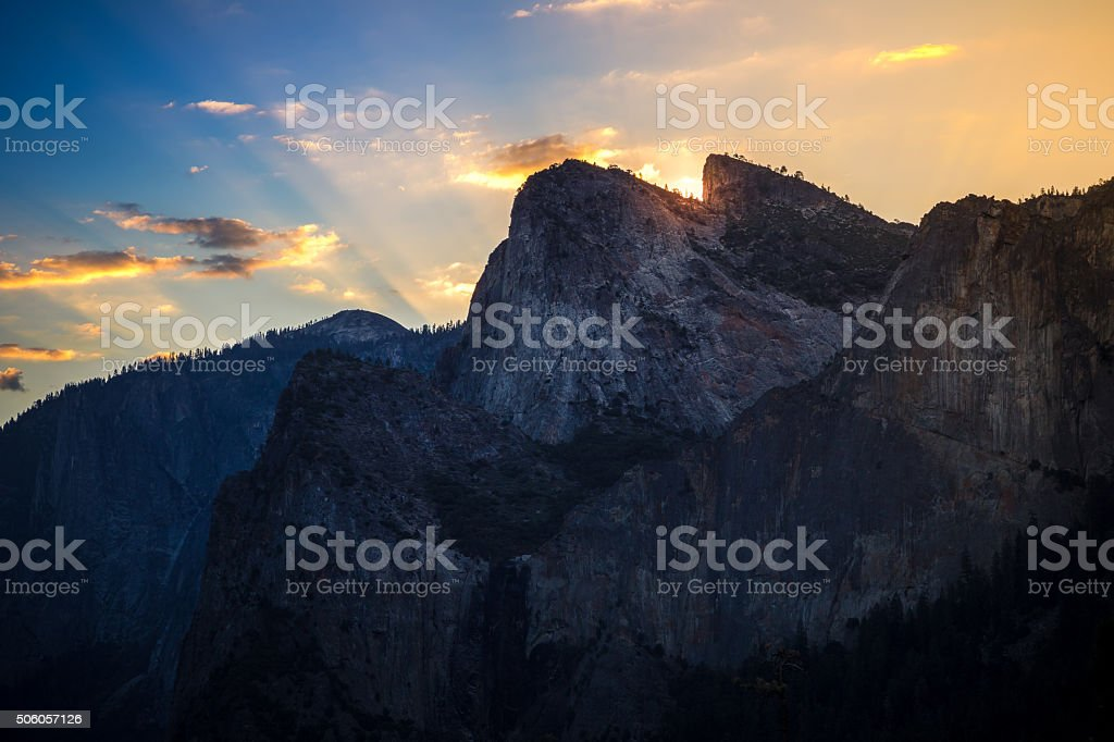 Peaks of Yosemite at Sunrise stock photo