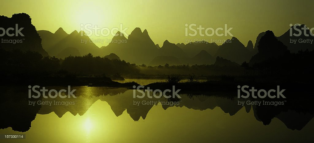 Peaks reflections stock photo