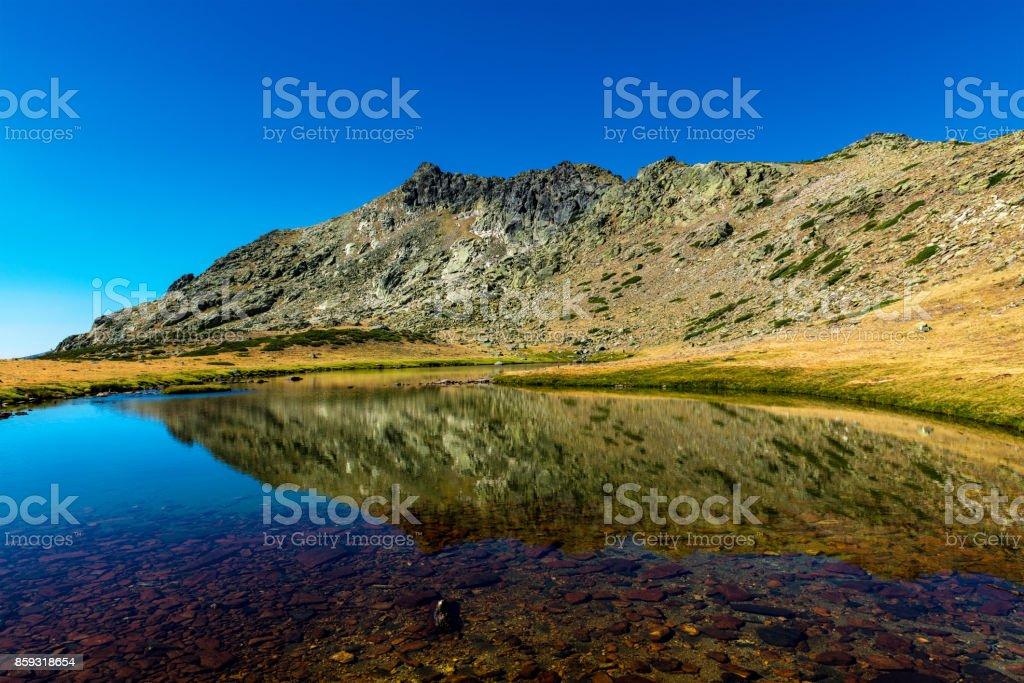 Peñalara and mountain range of Guadarrama stock photo