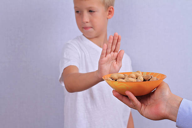 peanut allergy concept - food allergies stock photos and pictures