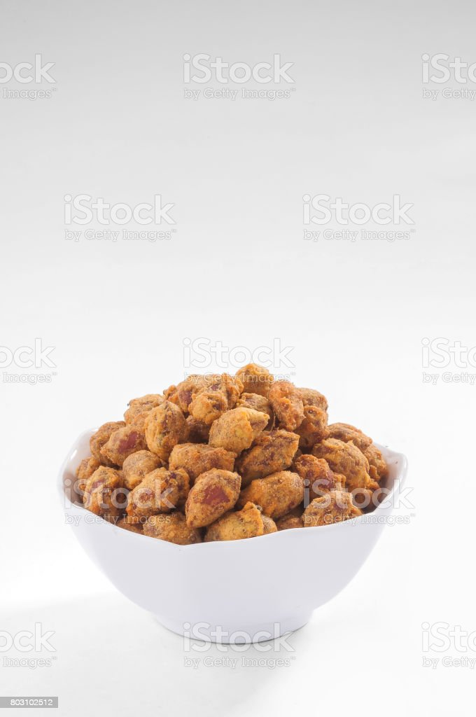 peanut bhujia in white bowl stock photo