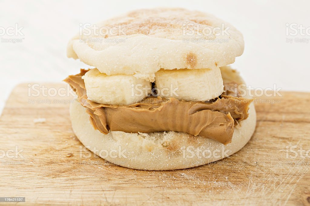 Peanut Butter and Banana On English Muffin stock photo