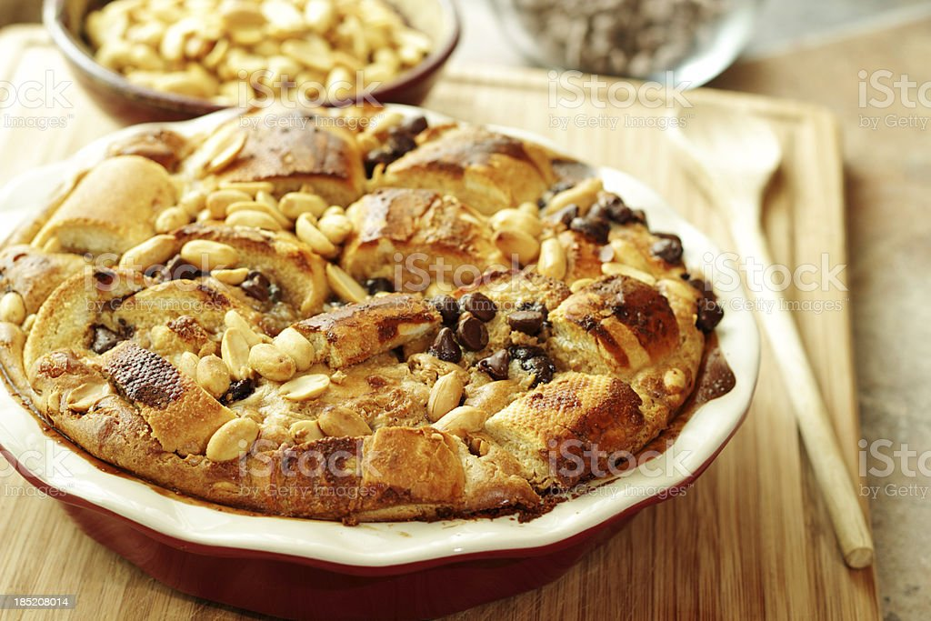 Peanut Butter and Chocolate Bread Pudding stock photo