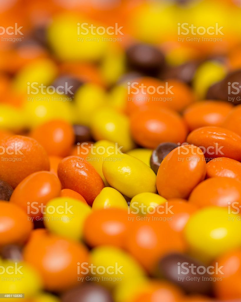 Peanut butter and chocolate candy stock photo