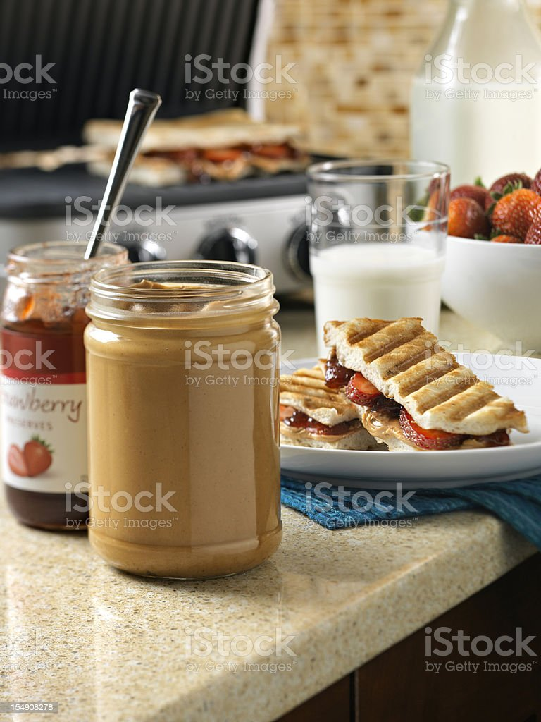 Peanut Butter and Jam Panini Sandwich royalty-free stock photo