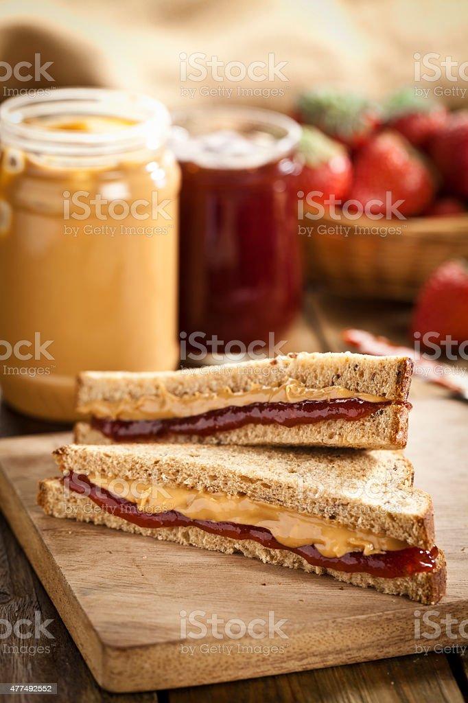 Erdnussbutter und Marmelade-sandwich – Foto