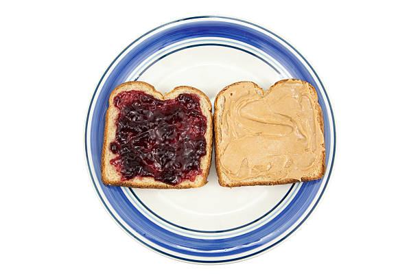 peanut butter and jelly on plate - peanutbutter bildbanksfoton och bilder